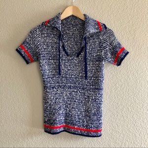 🌻Vintage🌻 Short-Sleeve Blue Stretch Sweater